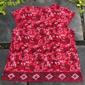 Lucky Brand Tops - Lucky Brand Red Navy Boho Cap Sleeve Top Size XL